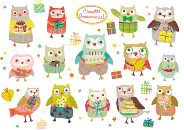 Sticker-Postkarte 'Happy Birthday Owls'