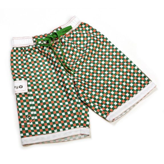Kinder UV 50+ Badeshorts BOARDSHORTS, Green red tile