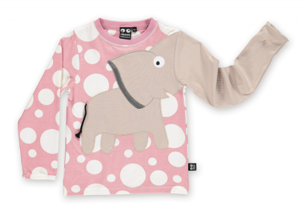 Langarmshirt Elefant, blush dot