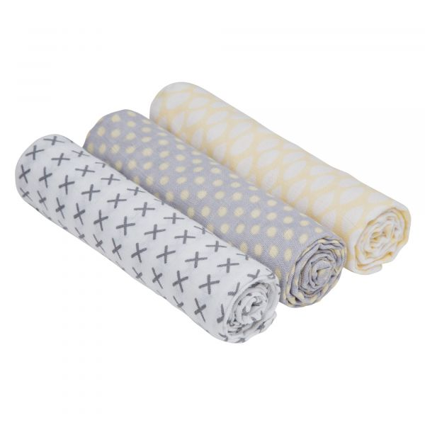 Swaddle & Burp Blanket Puck 3er Set Mulltücher Riddle