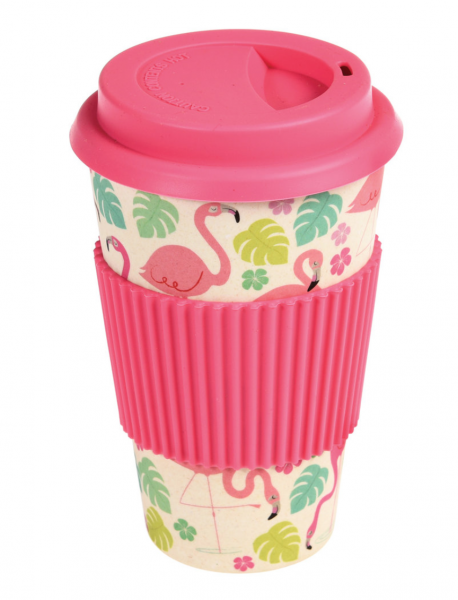 Kaffee To Go Becher Bambus, Flamingo