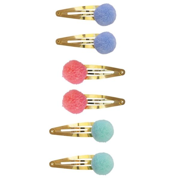 Haarclips Gold mit Pompom