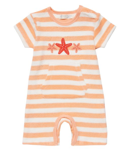 Frottee Baby Overall Marte Retro, lachs geringelt